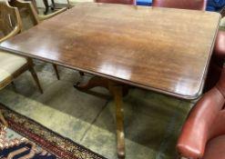 A Victorian rectangular mahogany breakfast table, width 120cm, depth 96cm, height 73cm