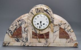 An Art Deco veined marble mantel clock, with two-train movement, height 51cm