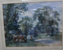 David J Robertson (1834-1925), watercolour, Wooded landscape with cattle on a river bank, signed, 42