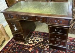A reproduction mahogany pedestal desk, width 120cm, depth 60cm, height 77cm