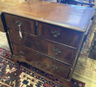 An early 18th century walnut chest fitted two short drawers and two long drawers, width 81cm,