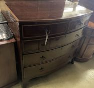 A Regency mahogany bow front chest, width 104cm, depth 54cm, height 104cm