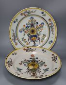 Two large Spanish faience pottery chargers, c.1840, diameter 34cm