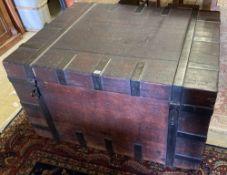 A Georgian iron-bound oak silver chest, width 117cm, depth 93cm, height 67cm