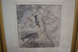 Douglas Ettridge (1927-2009), pencil drawing, Spitfire amongst clouds, Studio stamp verso, 23 x