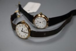 Two gentleman's early 20th century 9ct gold manual wind wrist watches including Waltham, gross 55.