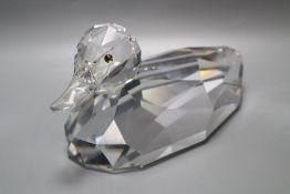 A large Swarovski crystal duck, 24cm