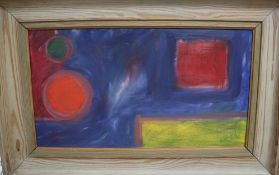 Modern British, oil on board, Abstract, initialled R.H, 27 x 49cm