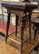 A Victorian tall mahogany and leather clerk's stool, height 78cm