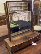 A George IV mahogany box base toilet mirror, width 56cm, depth 23cm, height 65cm