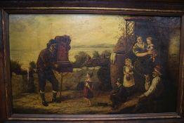 English School (19th century), The hurdy-gurdy man, oil on canvas, 29 x 49cm