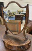 A George III cross-banded mahogany semi-elliptical toilet mirror with three drawer box base,