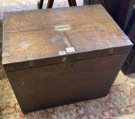 A Victorian brass bound oak silver chest marked G M Mackenzie, width 66cm, depth 43cm, height 56cm