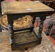 An 18th century style oak joynt stool, width 45cm, depth 31cm, height 47cm