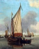 Attributed to John Ward of Hull (1798-1849)oil on wooden panelDutch shipping on a calm sea8.5 x