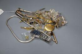 Sundry jewellery including cigar cutter and clip, silver charm bracelet, silver identity bracelet,