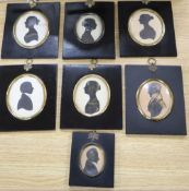 Seven 19th century silhouette profile portraits, ebonised frames