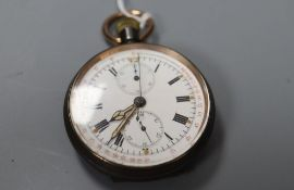 An early 20th century Swiss gun metal keyless chronograph pocket watch, outer dial inscribed '15