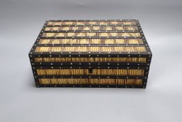 A Ceylonese quill box, c.1860, width 28cm