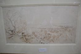 Circle of Edward Lear, ink and pencil drawing, View of Nice, 23.5 x 46cm