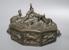 A bronze box with stag and deer surmounted lid, height 11cm