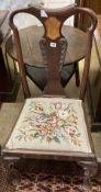 An 18th century Dutch marquetry inlaid mahogany dining chair
