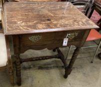 An 18th century style oak side table, width 73cm, depth 52cm, height 75cm