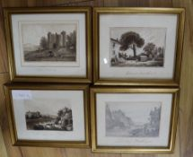 Circle of Copley Fielding, four sepia monochrome watercolours, Views on the Grand Tour, 9.5 x 13.