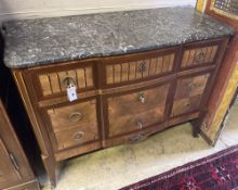 A French transitional style marble top commode, width 114cm, depth 48cm, height 88cm