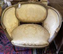 A Louis XVI style fauteuil, width 93cm