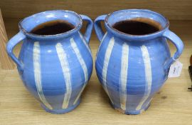 Two French striped pottery jugs, c.1960, height 30cm