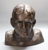 Ian Milner (d. 2020). A bronzed resin bust of Sir Ernest Shackleton (1874-1922), height 28cm