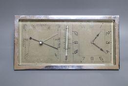 An Art Deco chrome clock barometer, width 24cm height 13cm