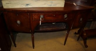 A Regency bow-fronted mahogany sideboard, W.152cm, D.62cm, H.88cm