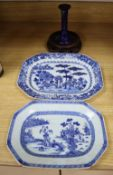 Two 18th century Chinese export blue and white octagonal dishes and a hardwood stand