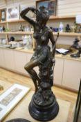 L. Ledieu. A bronze figure of Diana, height 74cm