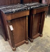 A pair of Empire style mahogany marble top bedside cupboards, width 40cm, depth 37cm, height 80cm (