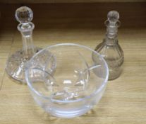 A Victorian cut glass decanter, height 22cm, with later stopper, a John Rocha, Waterford fruit