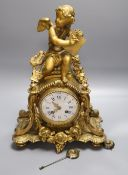 A Louis XVI style gilt metal mantel clock, height 50cm