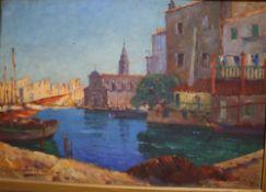 S. Brunel..., oil on panel, Venetian canal scene, signed, 37 x 54cm