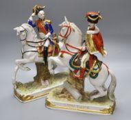 A pair of Sitzendorf equestrian groups, tallest 29cm