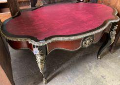 A Louis XVI design gilt metal mounted bureau plat, width 150cm, depth 90cm, height 75cm