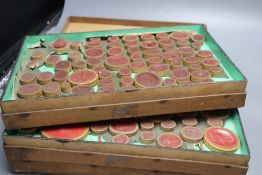 Three trays of 19th century Italian Grand Tour plaster cameos and intaglios