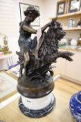 After Claudion. A bronze group of a bacchante riding a goat, on marble plinth