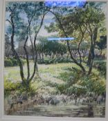 Walter Monckton Keesey (1887-?), watercolour, Trees on a riverbank, church beyond, signed and