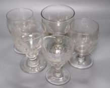 Five George III glass rummers, tallest 14cm