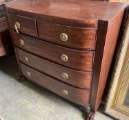 A George IV mahogany bowfront chest, width 107cm, depth 49cm, height 98cm