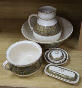 A Doulton Aesthetic period pottery washstand set