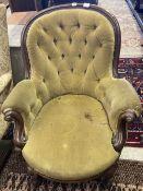 A Victorian mahogany framed button spoonback armchair
