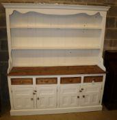 A Victorian style part painted pine dresser, width 182cm depth 42cm, height 198cm